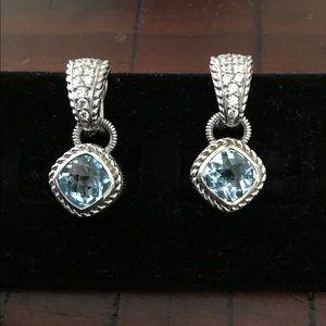 Judith Ripka 925 cz earnings Blue Diamond Earrings